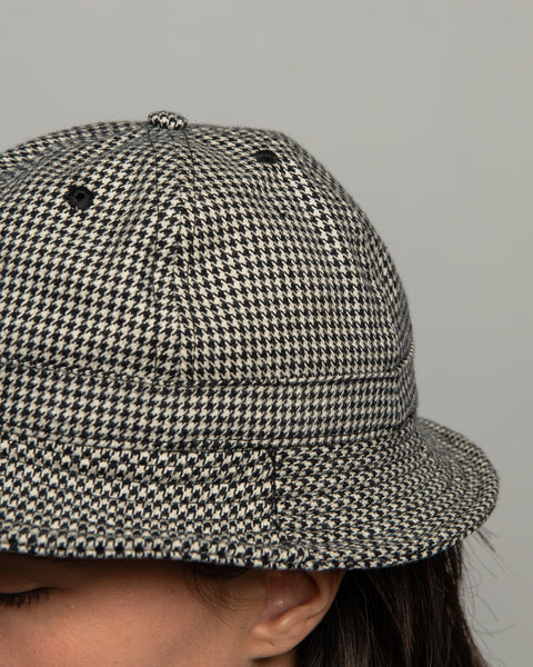 Tennis Hat - Black Houndstooth Twill