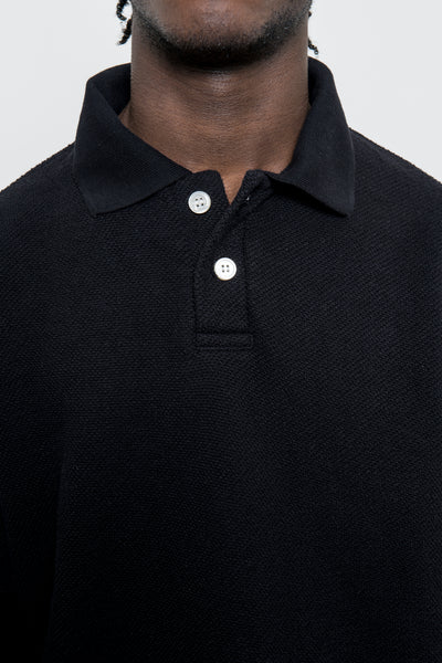 LS Polo Sweatshirt - Black Pique Terry - paa