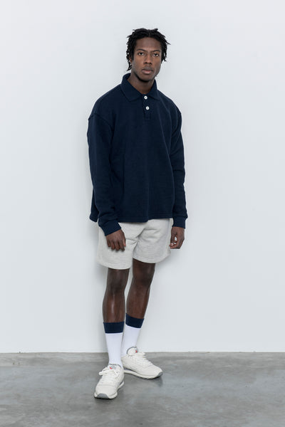 paa - LS Polo Sweatshirt - Navy Pique Terry