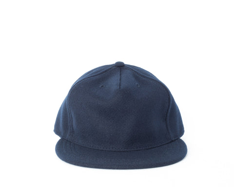 Melton Fitted Pleat Cap - Navy