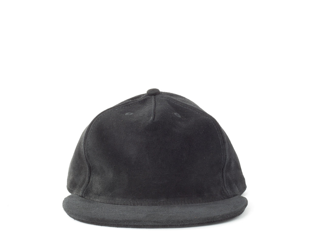 Suede Pleat Cap - Black