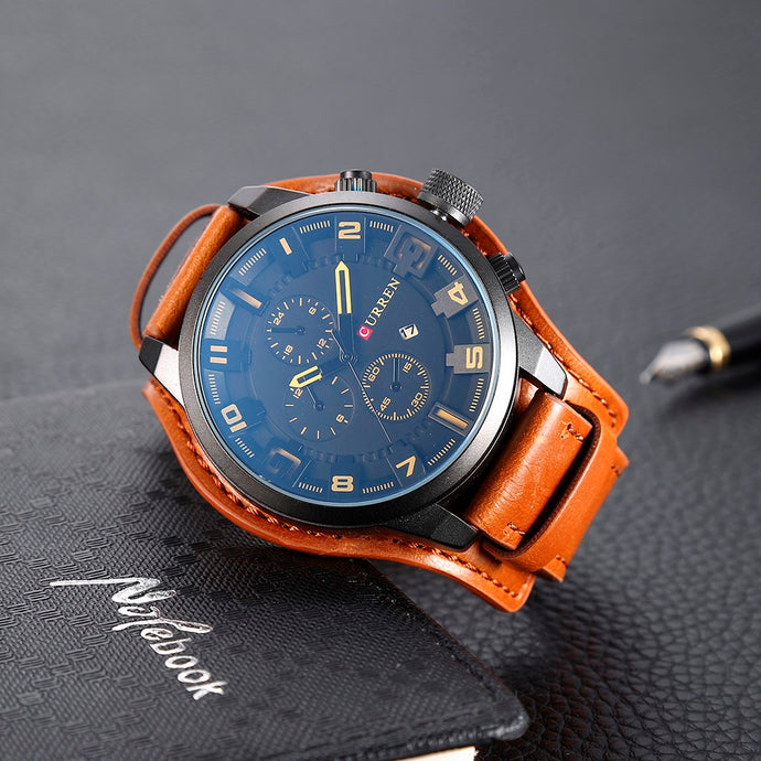 LUXURY LEATHER WRISWATCH with BOX