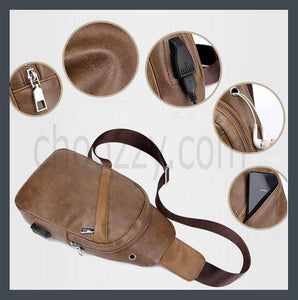 Unisex Fashion trend Crossbody Bag, Good quality PU leather chest bag.