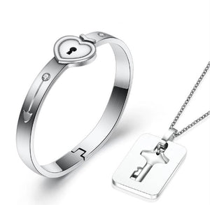 Couple Silver Love Lock Gift Set