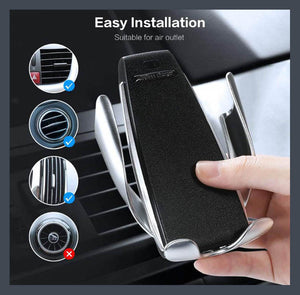 "Automatic clamping Phone Car Holder for 4""-6.5"" cellphone and wireless charger."