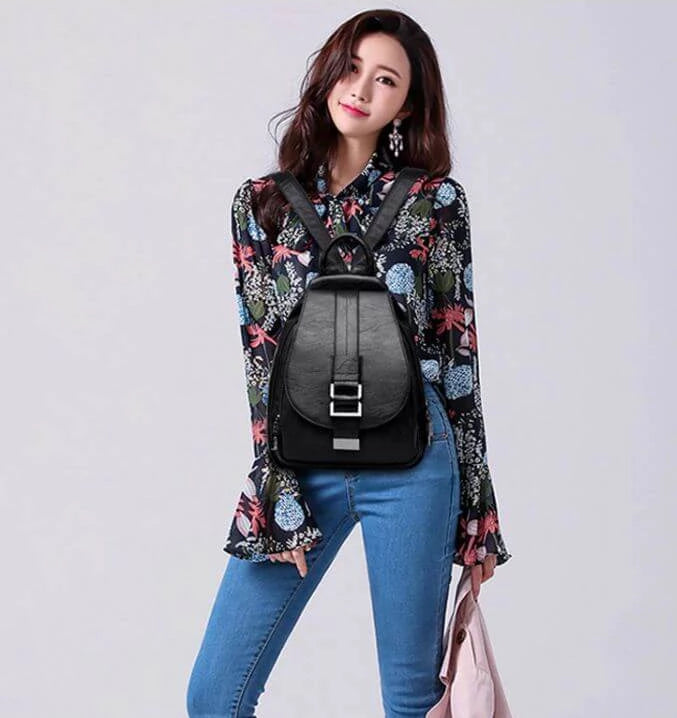 2019 Women Leather Backpacks Vintage Female Shoulder Bag Travel Ladies Backpack School Bags For Girls