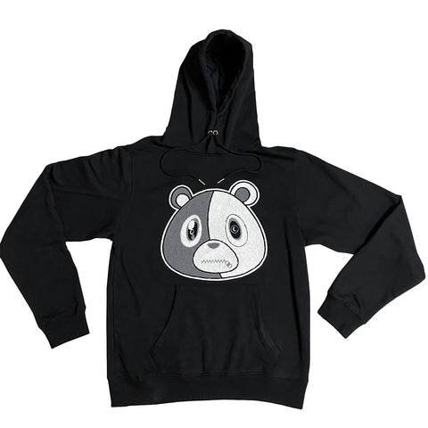 E Bear Chenille Patch Hoodie-Black