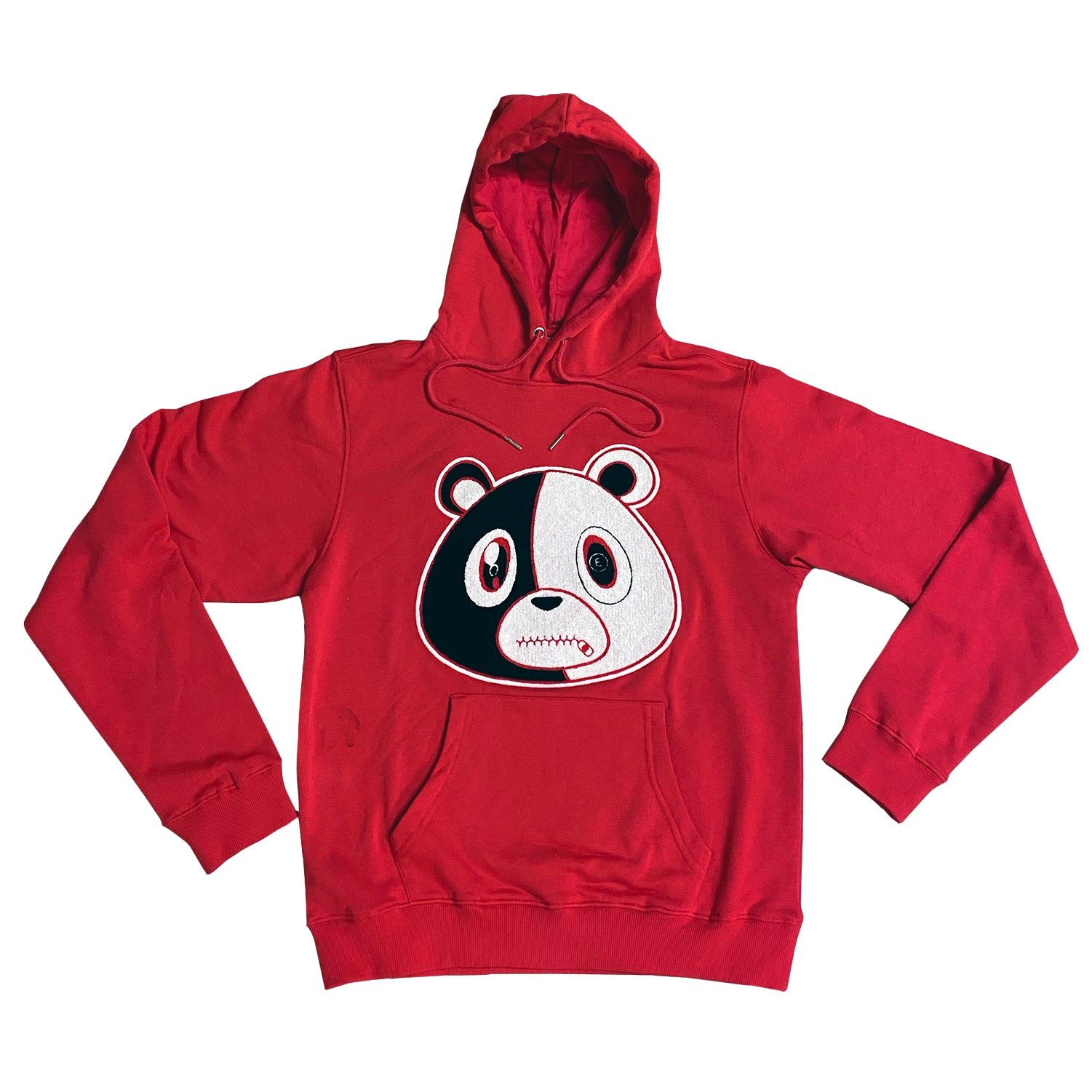 E Bear Chenille Patch Hoodie-Red