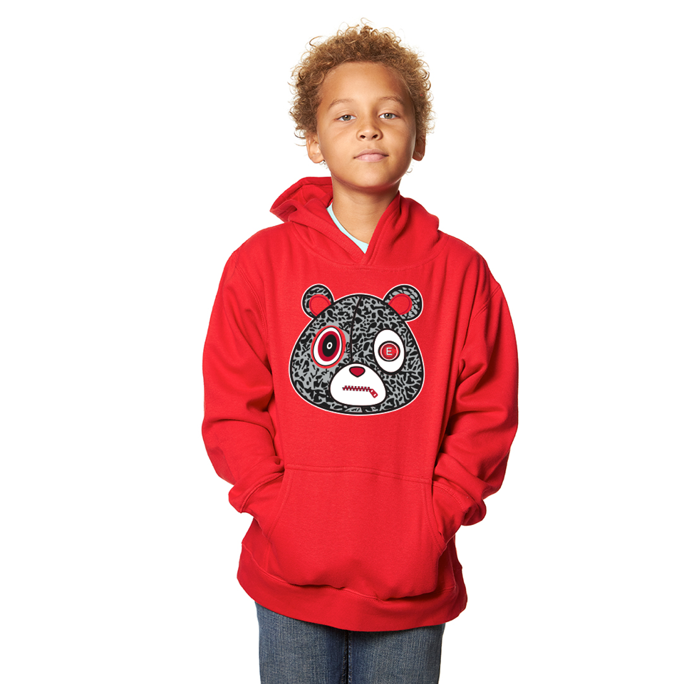 E Bear Cement Hoodie-Youth