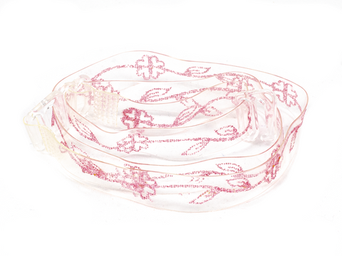 Pink flower leaf clear printed bra straps