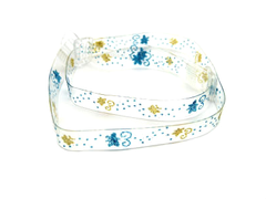 Detachable clear bra straps with aqua and gold print design