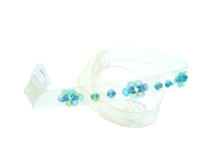 Detachable clear bra straps with aqua sequin design