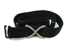 detachable wide black bra strap with diamante cross accessory
