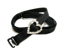 Black detachable or replacement bra straps with decorative diamante heart accessory