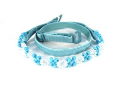 Detachable thin aqua blue beaded bra straps