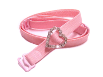 Detachable or replacement pink bra straps with decorative diamante heart accessory