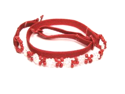 Red beaded detachable bra straps