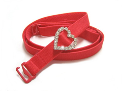 Detachable or replacement red bra straps with decorative diamante heart accessory