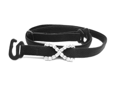 Detachable or replacement thin black bra straps with decorative diamante cross accessory
