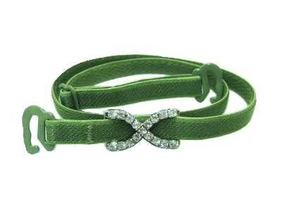 Detachable or replacement thin green bra straps with decorative diamante cross accessory