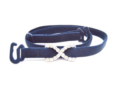 Detachable or replacement thin navy blue bra straps with decorative diamante cross accessory