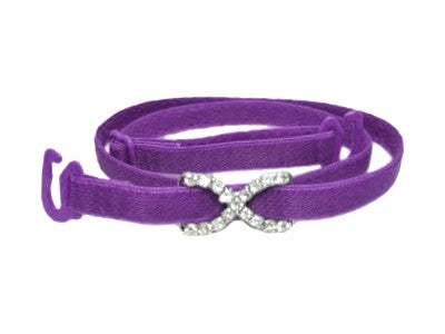 Detachable or replacement thin purple bra straps with decorative diamante cross accessory