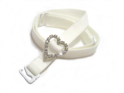 Detachable or replacement white bra straps with decorative diamante heart accessory
