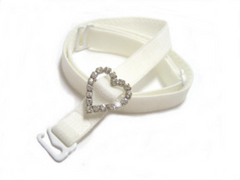 detachable white bra strap with diamante heart accessory