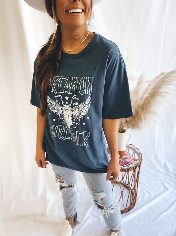 Dream On Dreamer Distressed Graphic Tee