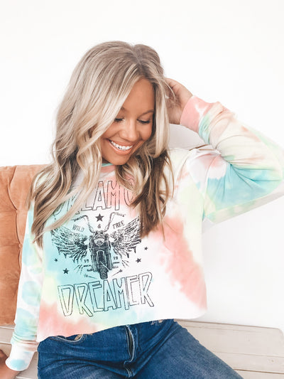 Dream On Dreamer Tie Dye Graphic Tee