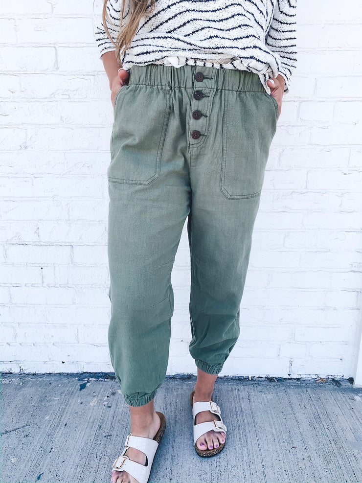 We Want You Linen Joggers
