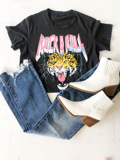 Tiger Rock & Roll Cropped Graphic Tee