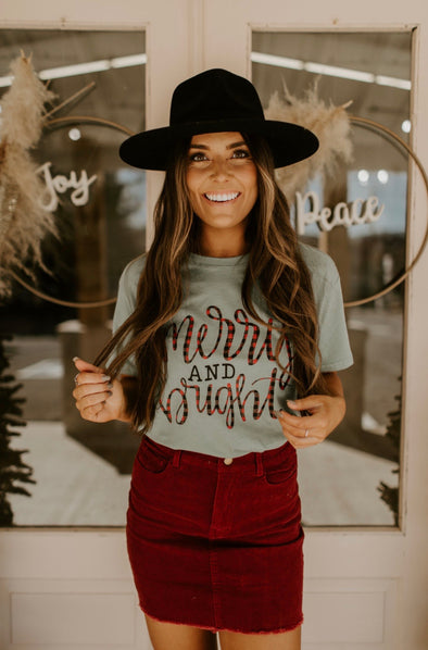 Merry & Bright Plaid Letters Graphic Tee