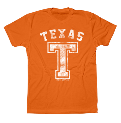 "Texas Block ""T"" Distressed T-Shirt"