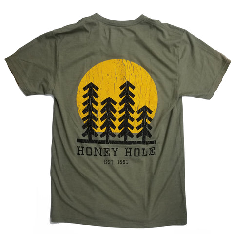 Honey Hole green forest sunset T-shirt