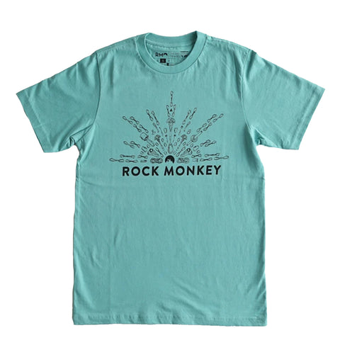 Rock Monkey Climbing Gear Sunset Teal T-Shirt