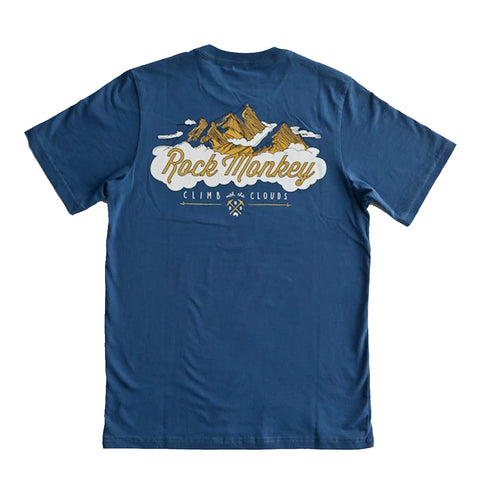 Rock Monkey Mountain Range Navy T-Shirt