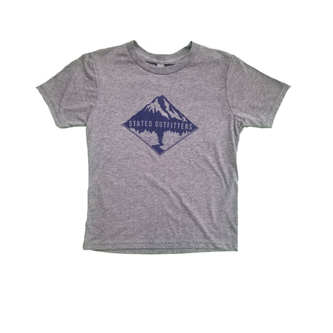 Stated Outfitters Youth Grey/ Navy Mountain Tee