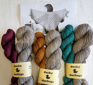 PRE ORDER.Cabin Path shawl kit. 4ply.Gold.