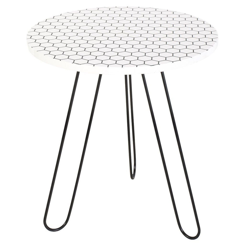 Dar 001ISL002 Islington Side Table Round White Honeycomb Top 50cm