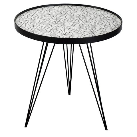 Dar 001SIB002 Sibford Side Table Round Black/White Circle Print Top 50cm