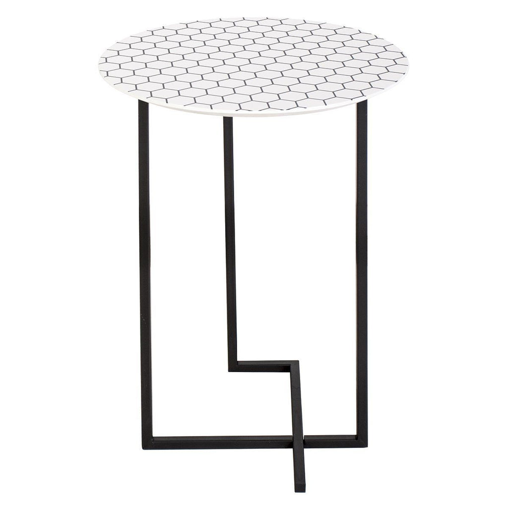 Dar 001TAM002 Tamworth Side Table Round White Honeycombe Print Top 40cm