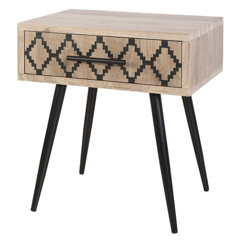 Dar 001TEW001 Tewkesbury Side Table Oak Wood Veneer With Printed Drawer