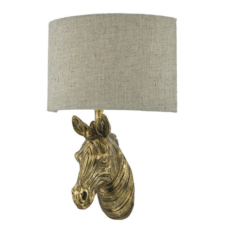 Dar ABB0735 Abby 1 Light Wall Light Zebra Gold With Shade