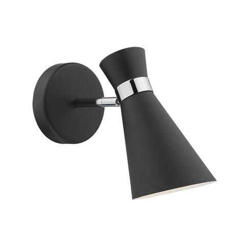 Dar ASH0722 Ashworth 1 Light Wall Bracket Black Polished Chrome