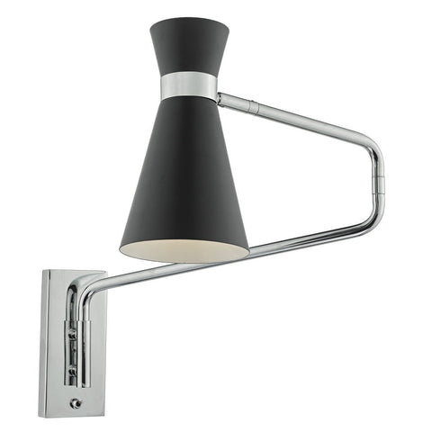 Dar ASH7122 Ashworth 1 Light Extendable Wall Bracket Black Polished Chrome