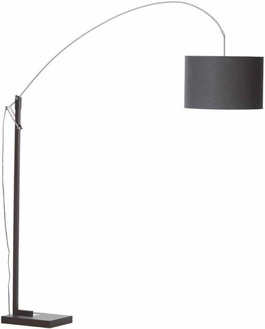 Brooklyn Floor Lamp In Brown And Chrome Finish With A Cylinder Shade