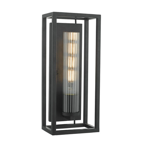 Dar FEL0722 Felipe 1 Light Wall Light Lantern Black Clear