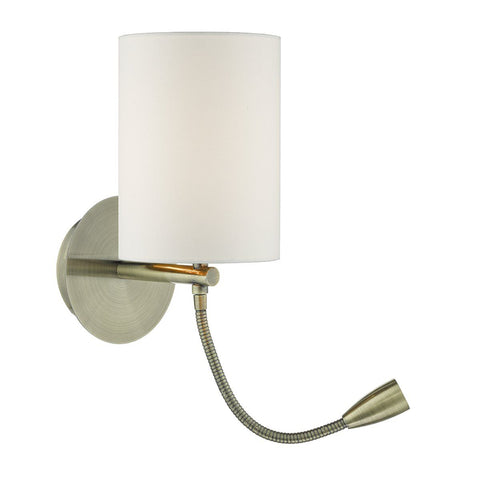 Dar FET0775 Feta 1 Light Wall Bracket With LED Antique Brass Base Only