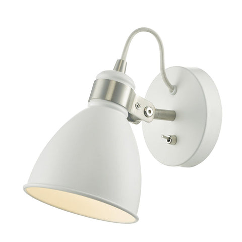 Dar FRE0702 Frederick 1 Light Wall Light White /Satin Chrome